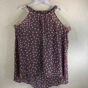 Torrid Top Sheer Blouse Tan/Brown Polka Dots 3 3X